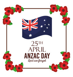 Anzac day lest we forget poster invitation flag vector