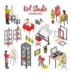 Art studio isometric set vector
