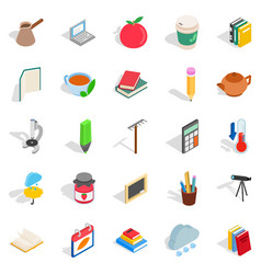 autumn city icons set isometric style vector image