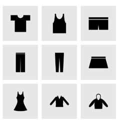 black clothes eyes icons set vector image vector image