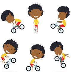 bmx bike african american rider boy vector image vector image