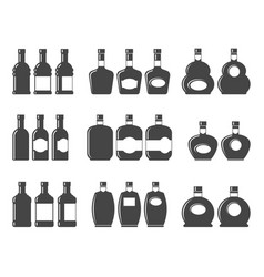 bottle icon set symbol vector image vector image