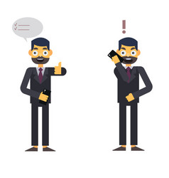 buisnessman isolated character on whte with phone vector image vector image