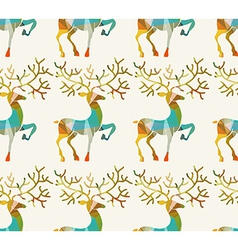 Christmas and New Year deer Seamless background vector image vector image