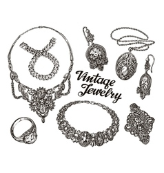 Collection vintage jewelry gold and precious vector