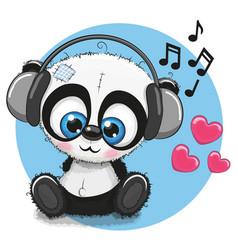 Cute cartoon panda with headphones vector