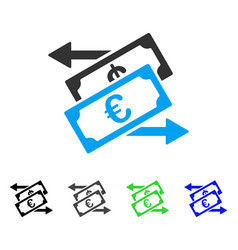 Euro currency exchange flat icon vector