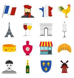 france travel set flat icons vector image