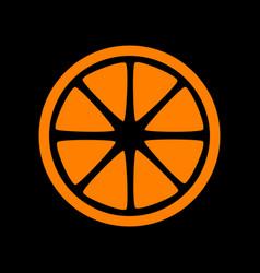 Fruits lemon sign orange icon on black background vector