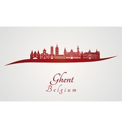 Ghent skyline in red vector