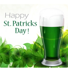 Green beer with clover vector image