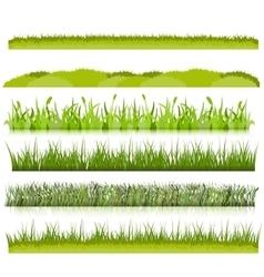 Green grass borders set vector