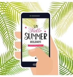 Hello summer holidays at telefon vector