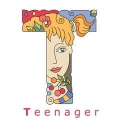 Letter t teenager vector
