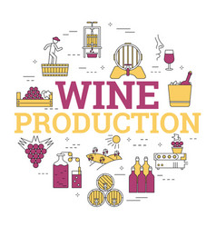 linear concept of wine production vector image vector image