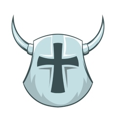 Medieval shield with cross and horns icon vector