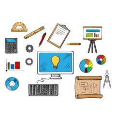 Online inspiration idea and research concept vector image