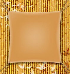 Parchment banner on the grunge bamboo background vector image