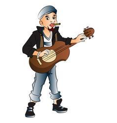 Rockstar playing guitar and smoking cigarette vector