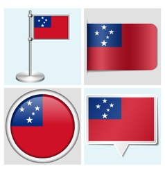 Samoa flag - sticker button label flagstaff vector image