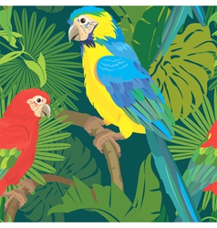 Seamless pattern with palm trees leaves and parrot vector image