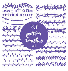 Set of patterned floral brush vector