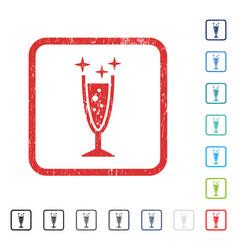 Sparkle wine glass icon rubber watermark vector
