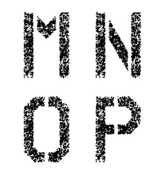 stencil angular spray font letters M N O P vector image