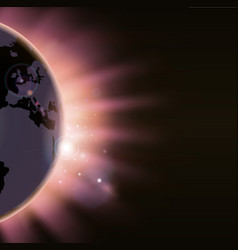 sun rays burst over the globe vector image