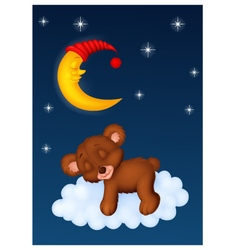 The teddy bear sleep on the moon vector image