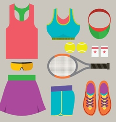 Top view tennis women gears vector