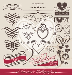 valentines day calligraphic elements vector image vector image