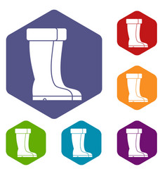 winter shoes icons set vector image vector image
