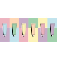 Tubes for packaging pastel set vector