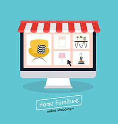 Flat design concept online shopping furniture and vector