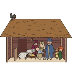 Christmas crib vector