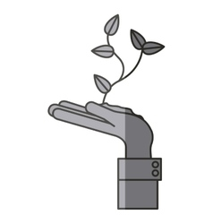 Isolated plant over hand design vector