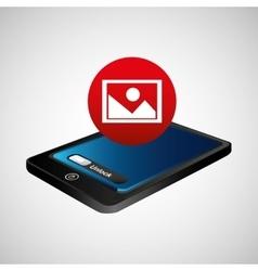 Smartphone blue screen unlock image vector