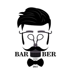 Barber shop hipster silhouette logo hairstyle man vector