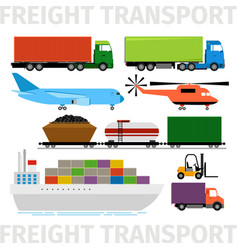 Transport vehicles plane and train truck with vector