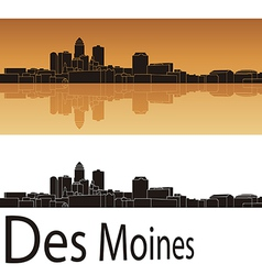 Des Moines skyline in orange background vector image