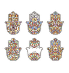 thailand ethnic hand drawn hamsa hands vector image