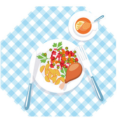 Healtno food concept desizhn vegetarian menu vector