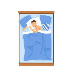 Young man sleeping in his bed relaxing person vector