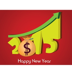 Money growth of 2015 happy new year vector