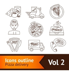 Pizza Icons Set Outline vector image
