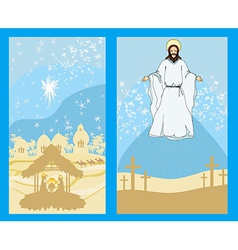 Two religious images - jesus christ bless and vector