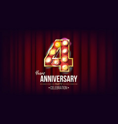 4 years anniversary banner four fourth vector image