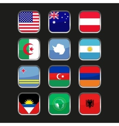 World flags icons set name country of letter a vector