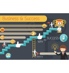 Business concept stairway to success infographic vector